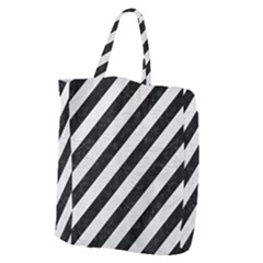 Stripes3 Black Marble & White Leather (r) Giant Grocery Zipper Tote by trendistuff