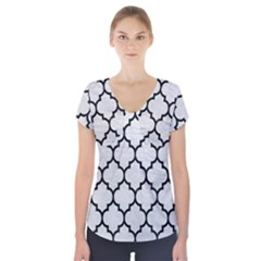 Tile1 Black Marble & White Leather Short Sleeve Front Detail Top