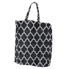 Tile1 Black Marble & White Leather (r) Giant Grocery Zipper Tote