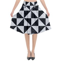 Triangle1 Black Marble & White Leather Flared Midi Skirt by trendistuff