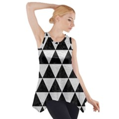 Triangle3 Black Marble & White Leather Side Drop Tank Tunic