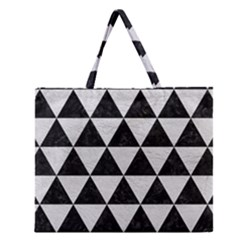 Triangle3 Black Marble & White Leather Zipper Large Tote Bag