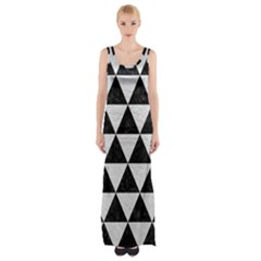 Triangle3 Black Marble & White Leather Maxi Thigh Split Dress