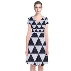 Triangle3 Black Marble & White Leather Short Sleeve Front Wrap Dress