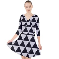 Triangle3 Black Marble & White Leather Quarter Sleeve Front Wrap Dress