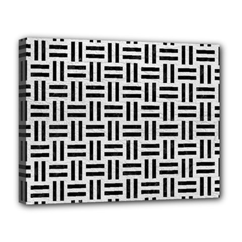 Woven1 Black Marble & White Leather Canvas 14  X 11  by trendistuff