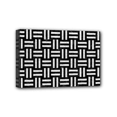 Woven1 Black Marble & White Leather (r) Mini Canvas 6  X 4  by trendistuff