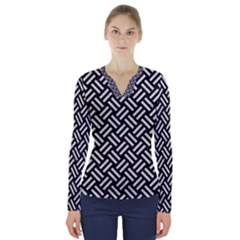Woven2 Black Marble & White Leather (r) V Neck Long Sleeve Top
