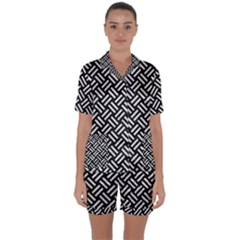 Woven2 Black Marble & White Leather (r) Satin Short Sleeve Pyjamas Set