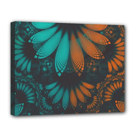 Beautiful Teal And Orange Paisley Fractal Feathers Canvas 14  X 11  by jayaprime