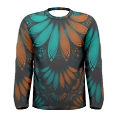 Beautiful Teal And Orange Paisley Fractal Feathers Men s Long Sleeve Tee by jayaprime