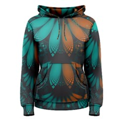 Beautiful Teal And Orange Paisley Fractal Feathers Women s Pullover Hoodie by jayaprime