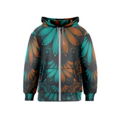 Beautiful Teal And Orange Paisley Fractal Feathers Kids  Zipper Hoodie by jayaprime