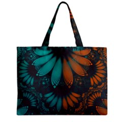 Beautiful Teal And Orange Paisley Fractal Feathers Zipper Mini Tote Bag by jayaprime