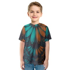 Beautiful Teal And Orange Paisley Fractal Feathers Kids  Sport Mesh Tee by jayaprime
