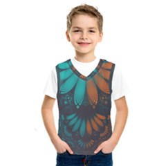 Beautiful Teal And Orange Paisley Fractal Feathers Kids  Sportswear by jayaprime