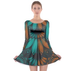 Beautiful Teal And Orange Paisley Fractal Feathers Long Sleeve Skater Dress by jayaprime