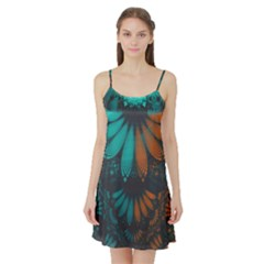 Beautiful Teal And Orange Paisley Fractal Feathers Satin Night Slip by jayaprime