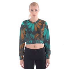 Beautiful Teal And Orange Paisley Fractal Feathers Cropped Sweatshirt by jayaprime