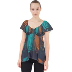 Beautiful Teal And Orange Paisley Fractal Feathers Lace Front Dolly Top by jayaprime