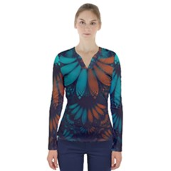 Beautiful Teal And Orange Paisley Fractal Feathers V Neck Long Sleeve Top by jayaprime