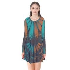 Beautiful Teal And Orange Paisley Fractal Feathers Flare Dress by jayaprime