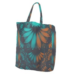 Beautiful Teal And Orange Paisley Fractal Feathers Giant Grocery Zipper Tote by jayaprime