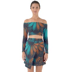 Beautiful Teal And Orange Paisley Fractal Feathers Off Shoulder Top With Skirt Set by jayaprime