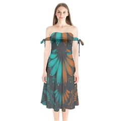Beautiful Teal And Orange Paisley Fractal Feathers Shoulder Tie Bardot Midi Dress by jayaprime