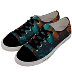 Beautiful Teal And Orange Paisley Fractal Feathers Men s Low Top Canvas Sneakers by jayaprime