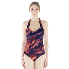 Abstract Acryl Art Halter Swimsuit