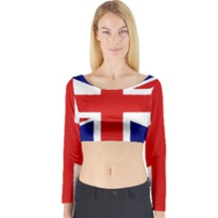 Union Jack Watercolor Drawing Art Long Sleeve Crop Top by picsaspassion