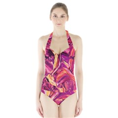 Abstract Acryl Art Halter Swimsuit by tarastyle
