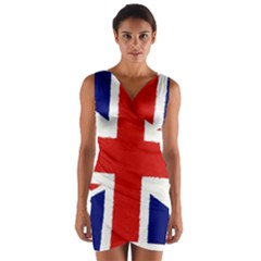 Union Jack Watercolor Drawing Art Wrap Front Bodycon Dress by picsaspassion