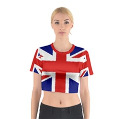 Union Jack Watercolor Drawing Art Cotton Crop Top