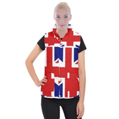 Union Jack Watercolor Drawing Art Women s Button Up Puffer Vest by picsaspassion