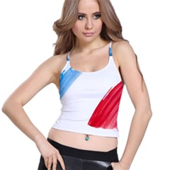 France Flag, Banner Watercolor Painting Art Spaghetti Strap Bra Top by picsaspassion