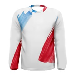 France Flag, Banner Watercolor Painting Art Men s Long Sleeve Tee