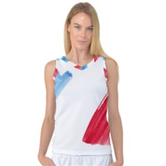 France Flag, Banner Watercolor Painting Art Women s Basketball Tank Top by picsaspassion
