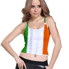 Flag Ireland, Banner Watercolor Painting Art Spaghetti Strap Bra Top