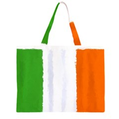 Flag Ireland, Banner Watercolor Painting Art Zipper Large Tote Bag by picsaspassion