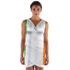 Flag Ireland, Banner Watercolor Painting Art Wrap Front Bodycon Dress
