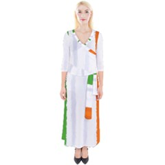 Flag Ireland, Banner Watercolor Painting Art Quarter Sleeve Wrap Maxi Dress
