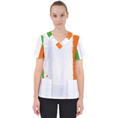 Flag Ireland, Banner Watercolor Painting Art Scrub Top