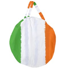 Flag Ireland, Banner Watercolor Painting Art Giant Round Zipper Tote