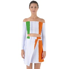 Flag Ireland, Banner Watercolor Painting Art Off Shoulder Top With Skirt Set
