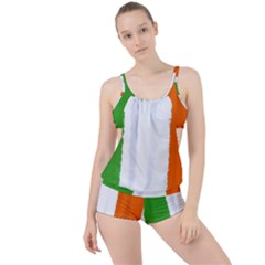 Flag Ireland, Banner Watercolor Painting Art Boyleg Tankini Set