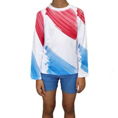 Tricolor Banner Watercolor Painting Art Kids  Long Sleeve Swimwear by picsaspassion