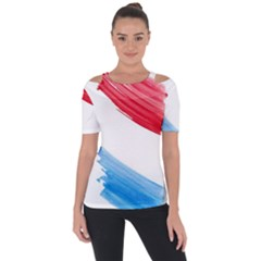 Tricolor Banner Watercolor Painting Art Short Sleeve Top by picsaspassion