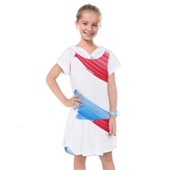 Tricolor Banner Watercolor Painting Art Kids  Drop Waist Dress by picsaspassion